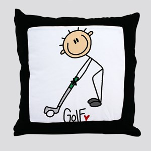 Golf Stick Figure Throw Pillow